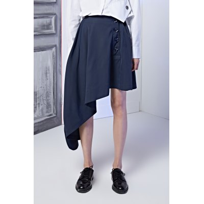 Asymmetric Buttons Skirt