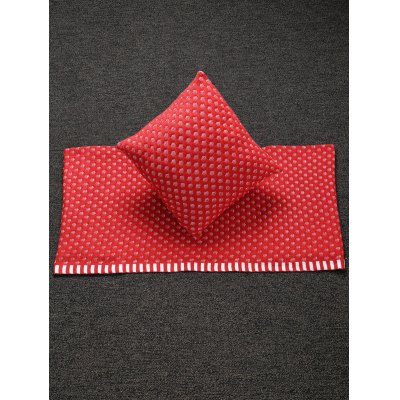 Home Decor Warm Comfortable Christmas Red Mesh Knitted Pillow Case and Blanket