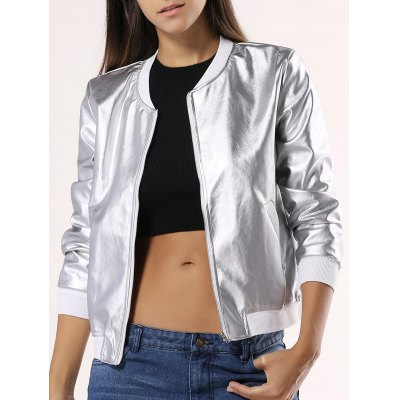 Glossy Pure Color Jacket For Women