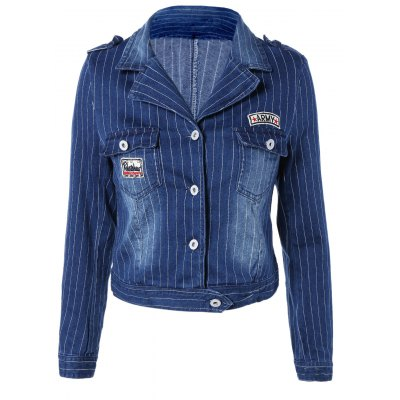 Chic Lapel Appliques Striped Jacket