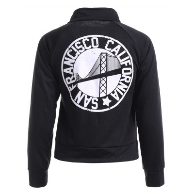 Stand Collar Graphic Jacket