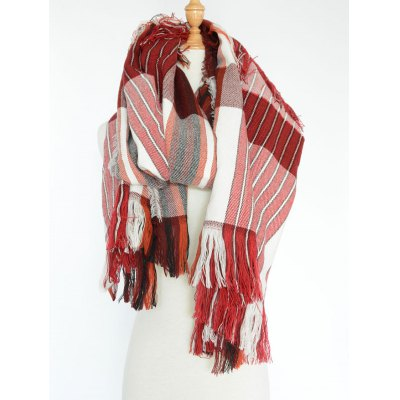 Stylish Stripe Pattern Fringed Shawl Wrap Pashmina
