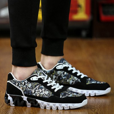 Trendy Splice and Printed Design Athletic Shoes For Men