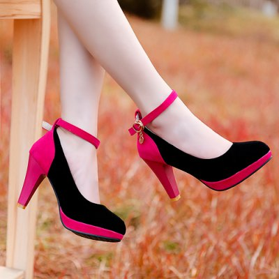 Stylish Color Block and Ankle Strap Design Pumps For Women