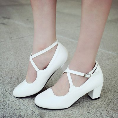 Sweet Cross Strap and Chunky Heel Design Pumps For Women