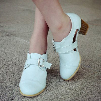 Elegant Buckle Embellished and Clog Heel Design Pumps For Women