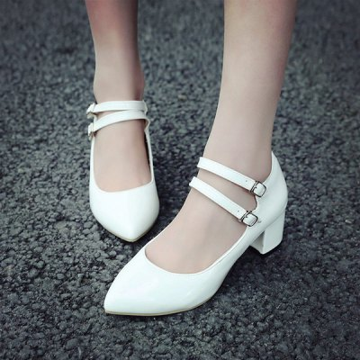 Elegant Chunky Heel and Pointed Toe Design Pumps For Women