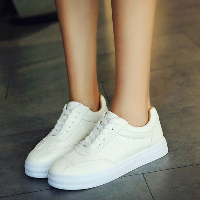 Concise Lace-Up and Solid Color Design Athletic Shoes For Women