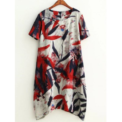 Plus Size Leaf Ink Painting Baggy Tee Shirt Dress