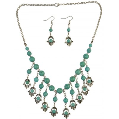 Stylish Fatima's Hand Fringe Necklace and Earrings