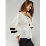 cheap Chic Scoop Neck Loose Striped Sleeve High Low Knitwear For Women