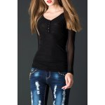 Lace Spliced See-Through Tee