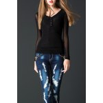 Lace Spliced See-Through Tee deal