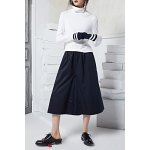 Solid Color Elastic Waist Wide Leg Pants deal