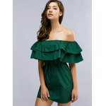 Fashion Off The Shoulder Flouncing Spliced Belted Dress For Women photo
