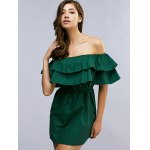 best Off The Shoulder Flounced Belted Mini Dress