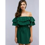 Off The Shoulder Flounced Belted Mini Dress for sale