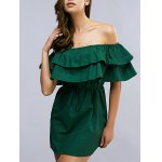 Off The Shoulder Flounced Belted Mini Dress