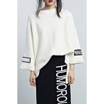 Letter Print High-Low Sweater