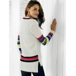 Trendy V-Neck Color Block Ribbed Women's Sweater for sale