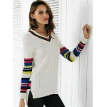 Trendy V-Neck Color Block Ribbed Women's Sweater deal