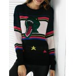 Chic Color Block Embroidery Women's Sweater