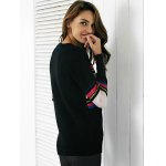 best Chic Color Block Embroidery Women's Sweater