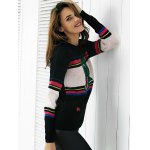 Chic Color Block Embroidery Women's Sweater for sale