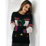 cheap Chic Color Block Embroidery Women's Sweater