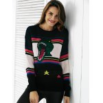 Chic Color Block Embroidery Women's Sweater deal