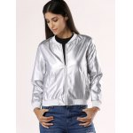 cheap Glossy Pure Color Jacket For Women