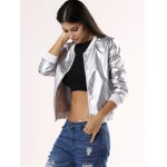 Glossy Pure Color Jacket For Women deal