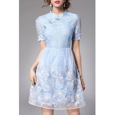 Lace Sequined Qipao Dress