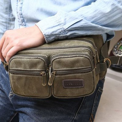 Casual Zippers and Canvas Design Messenger Bag For Men