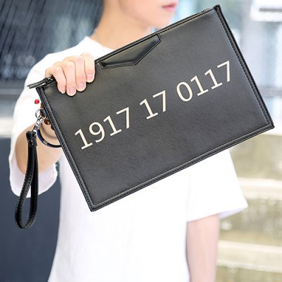 Casual Number and Black Design Clutches For Men