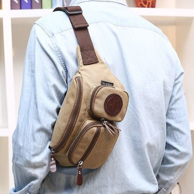 Simple Zippers and Double Pocket Design Messenger Bag For Men
