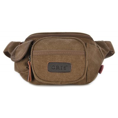 Concise Solid Colour and Canvas Design Waist Bag For Men