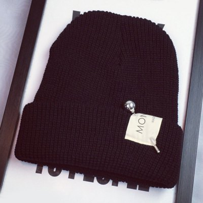 Ball Safty Pin and Letters Applique Embellished Knitted Beanie For Women