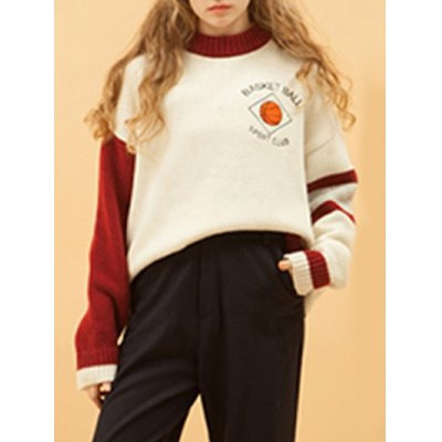 Round Collar Basketball Embroidered Women's Sweater