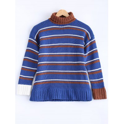 Women's Fashionable Turtle Neck Striped Sweater