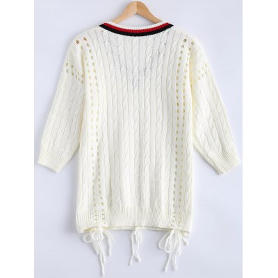 Crochet v neck cut out cricket sweater