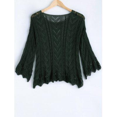 Solid Color Scoop Neck Bell Sleeve Sweater