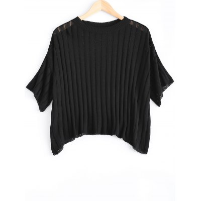 Loose-Fitting  Women's Scoop Neck Solid Color Short Sleeves Knitwear