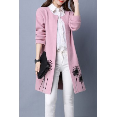 Flower Embroidered Long Sleeve Long Cardigan