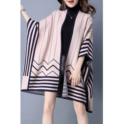 Striped Batwing Sleeve Cape Cardigan