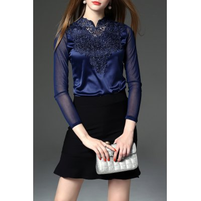 Lace See-Through Spliced Tee