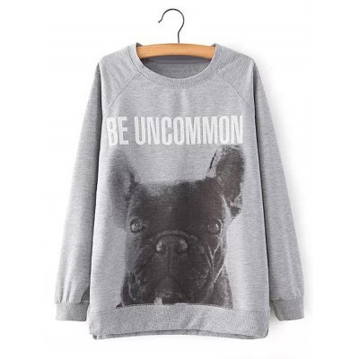 Dog Print Letter Pattern Sweatshirt For Women