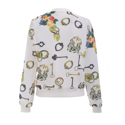 Floral Printed Long Sleeve Stand Collar Bomber Jacket