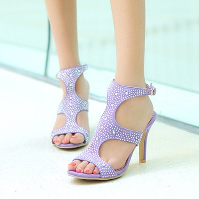 Stylish Rhinestones and Cut Out Design Sandals For Women