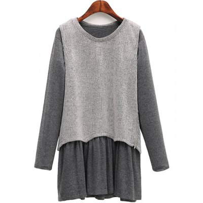Knitted Tank Top + Long Sleeve Dress Plus Size Twinset